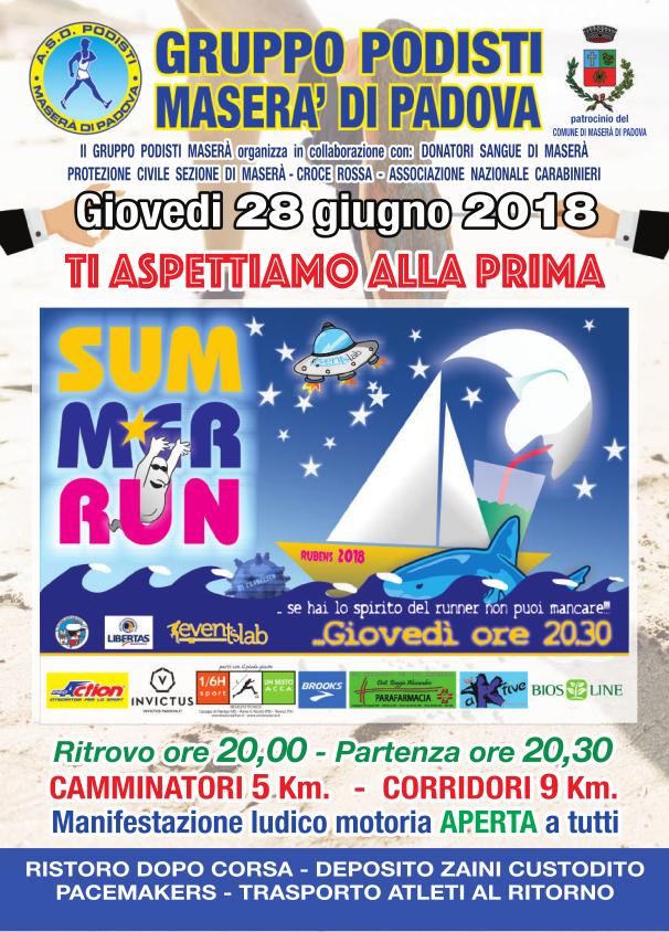 Locandina summer run 28 giugno 2018